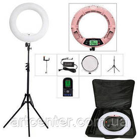 Лампа кольцевая для визажиста, лампа для фотографа (модель FE-480ii c пультом розовая)