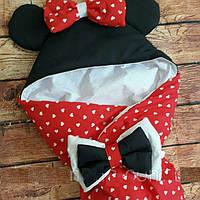 Конверт Одеяло для новорожденных на выписку с бантом и уголком  лето 75х75см Минни красный