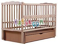 Детская кроватка Babyroom Веселка из бука с маятником и ящиком