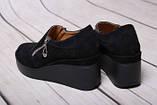 Туфли женские из натуральной замши черного цвета, фото 2