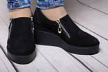 Туфли женские из натуральной замши черного цвета, фото 3