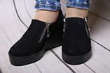 Туфли женские из натуральной замши черного цвета, фото 4