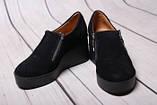 Туфли женские из натуральной замши черного цвета, фото 5
