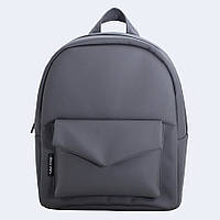 Темно-серый кожаный рюкзак, фото 1