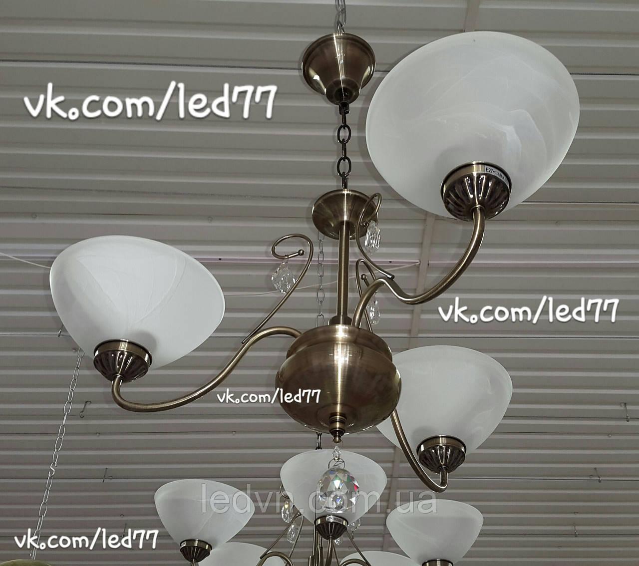 Класична люстра на ланцюгу на 3 лампи з елементами кришталю