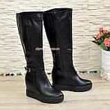 Сапоги черные зимние кожаные женские на скрытой платформе, фото 3