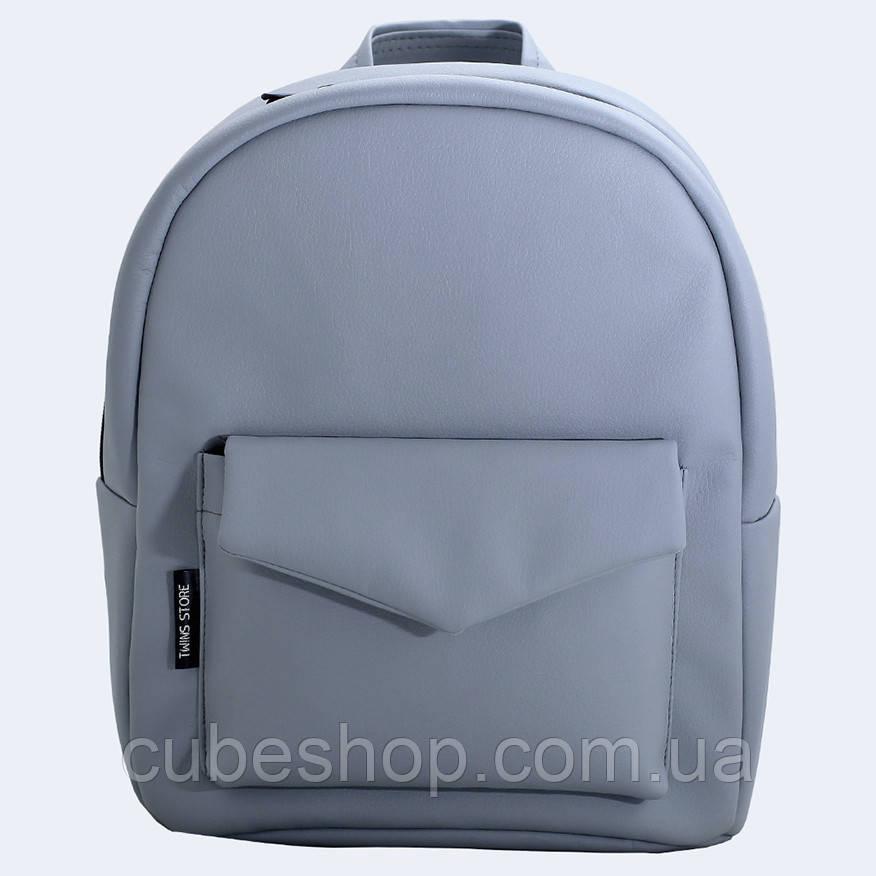 Светло-серый кожаный рюкзак