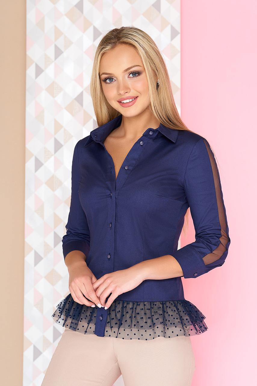 fc365dd1117 Красивая офисная блузка с баской-рюшей в горошек рукава 3 4