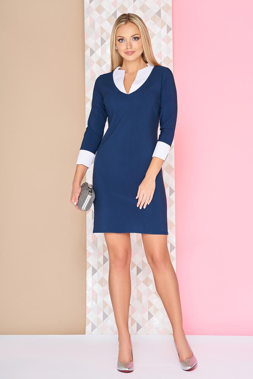 Стильное платье мини полуоблегающее рукав три четверти синее с белым