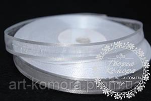 Органза с атласным краем 1 см, белая