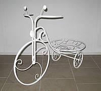 Кованая подставка для цветов Велосипед 1 большой белый, фото 1