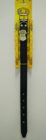 Ошейник для собак кожаный тисненный ОТ Цепочка черный 3,0/32-46, фото 2
