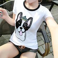 Женская футболка с пайетками Dog белая, фото 1