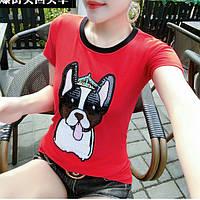 Женская футболка с пайетками Dog красная, фото 1