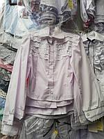 Блуза школьная нарядная с рюшами из ажурного кружева с длинным рукавом для девочки оптом