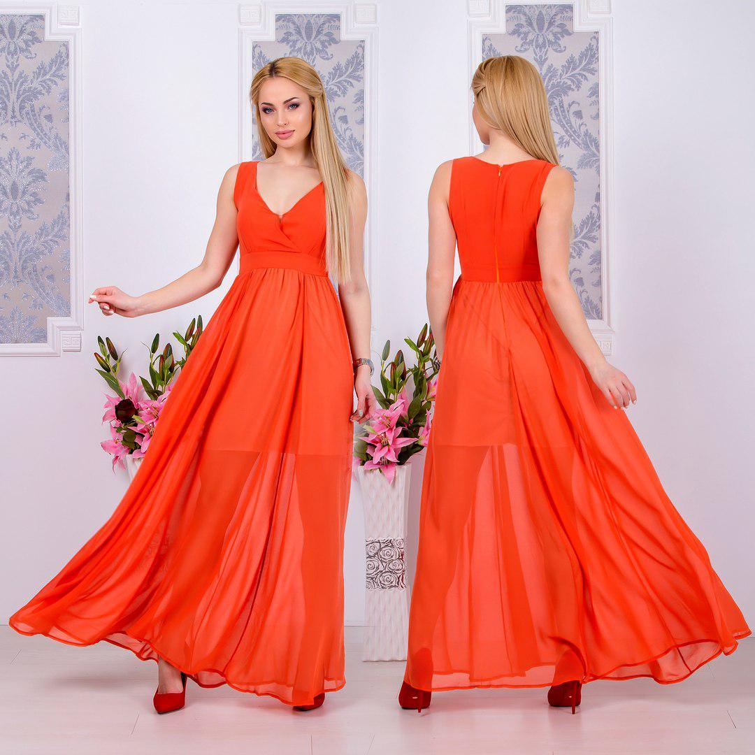b7a5db6f20bb23e Коралловое женское летнее шифоновое платье в пол. Арт-4556/9 ...