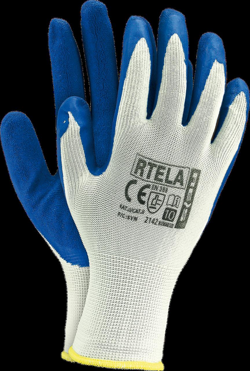 Рабочие перчатки RTELA WN из полиэстера покрытые латексом,бело-синий цвет. Reis Польша