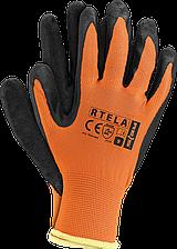 Рабочие перчатки RTELA PB из полиэстера покрытые латексом черного цвета. REIS Польша