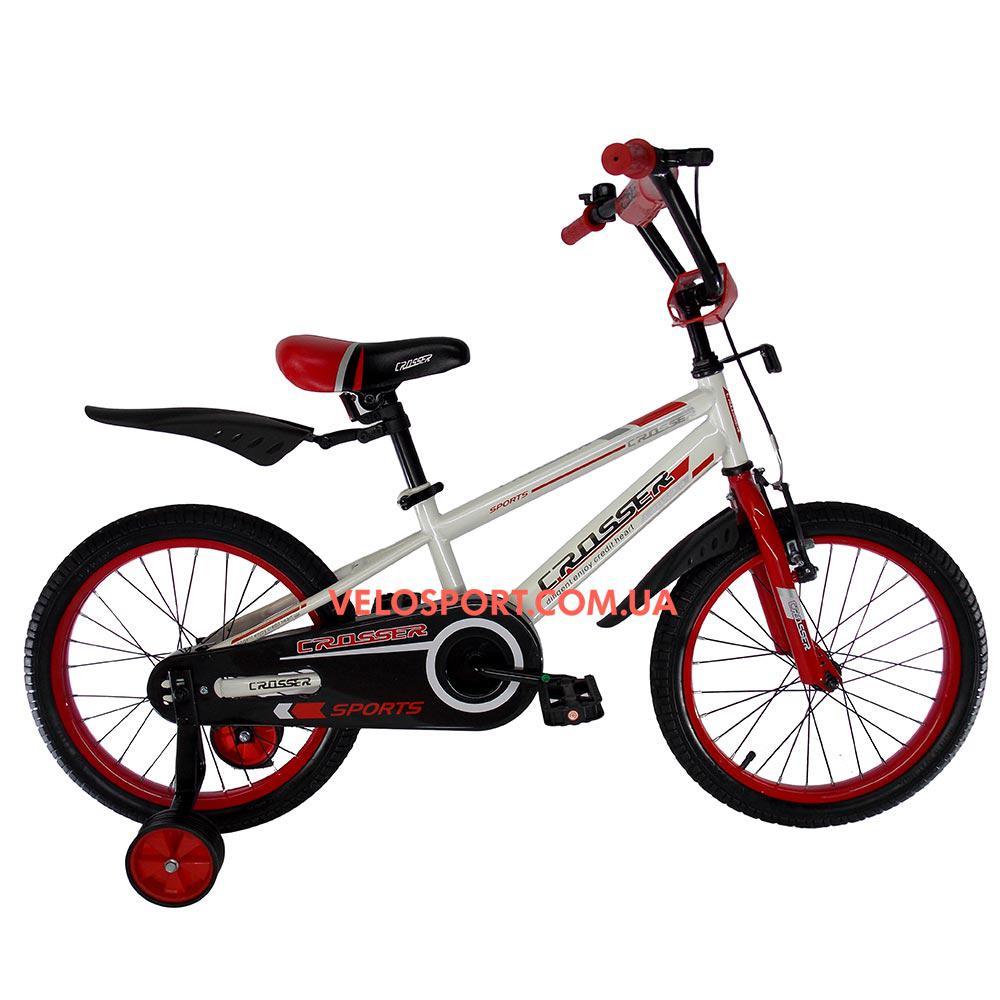 Детский велосипед Crosser Sports 18 дюймов бело-красный