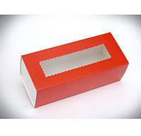 Коробка для Macaron  с окошком красная 14см x6см.Украина - 04669