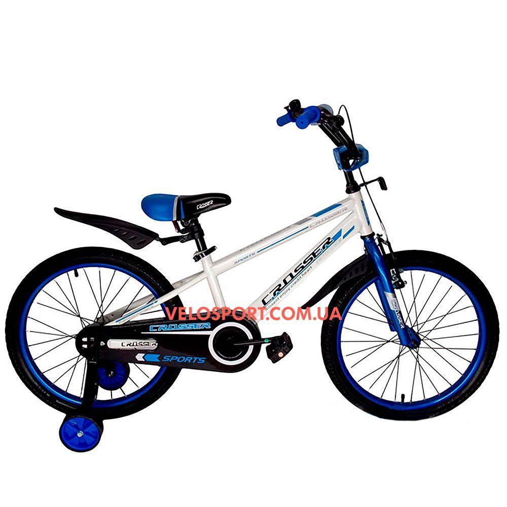 Детский велосипед Crosser Sports 18 дюймов бело-синий