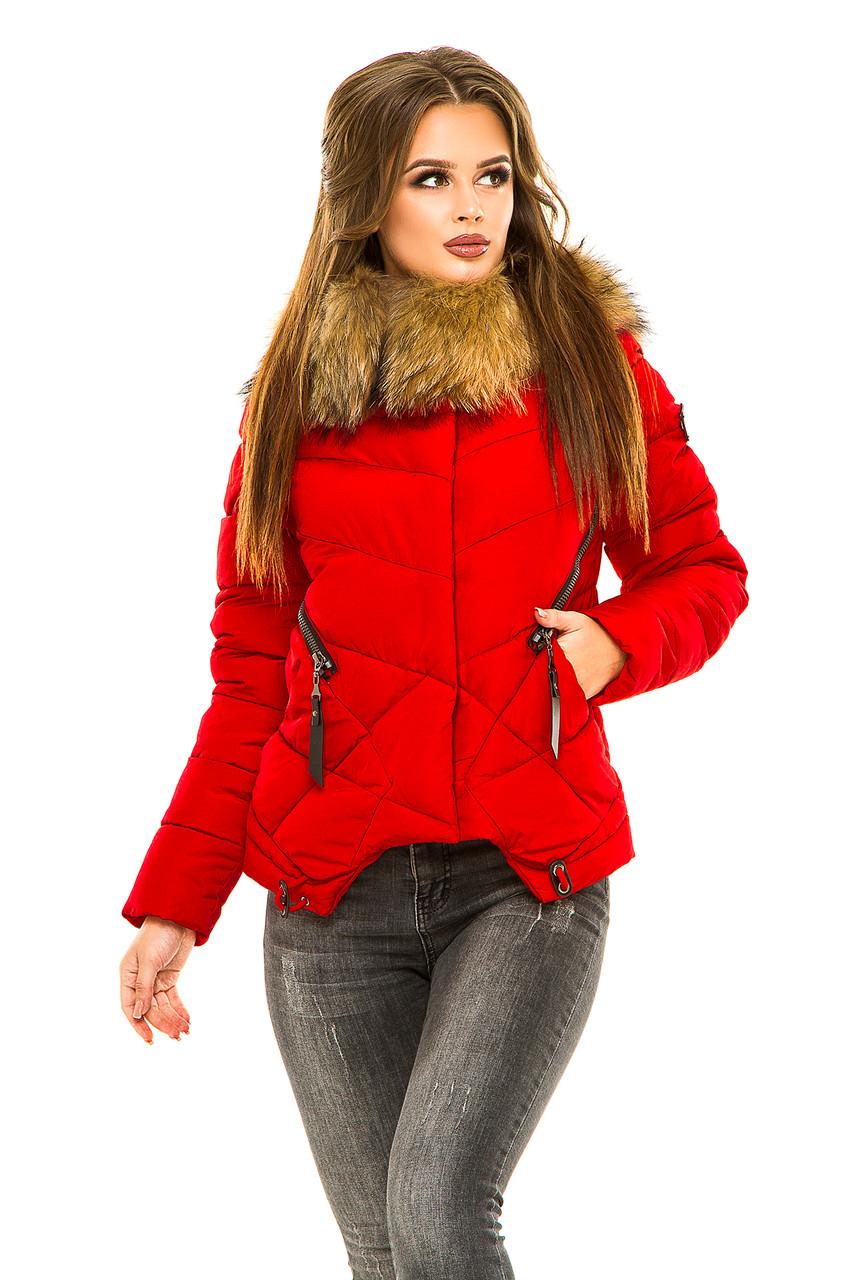 8be5fdb5ff8 Короткая зимняя женская куртка с мехом енота представлен в каталоге ...