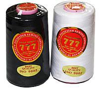 Нитка швейная 777 40/2 белая/чёрная (40 s/2) состав: 100% Полиэстер