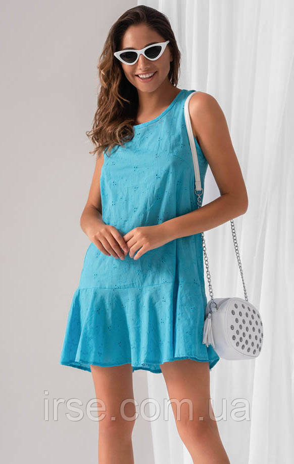 Летнее платье голубого цвета. модель 18888. Размеры 42-46