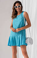 Летнее платье голубого цвета. модель 18888. Размеры 42-46, фото 1