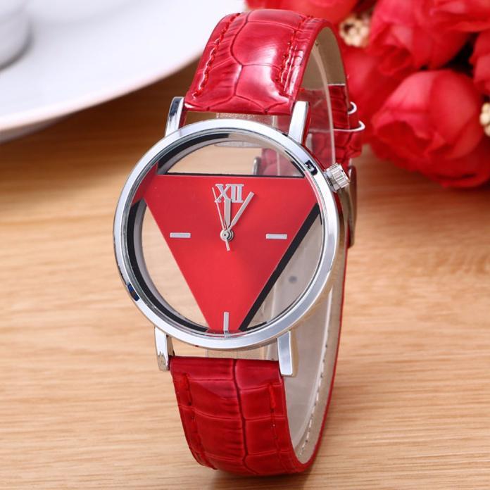 Часы наручные, Треугольник, Ремешок: Красный, Красный циферблат, Римские цифры + Метки