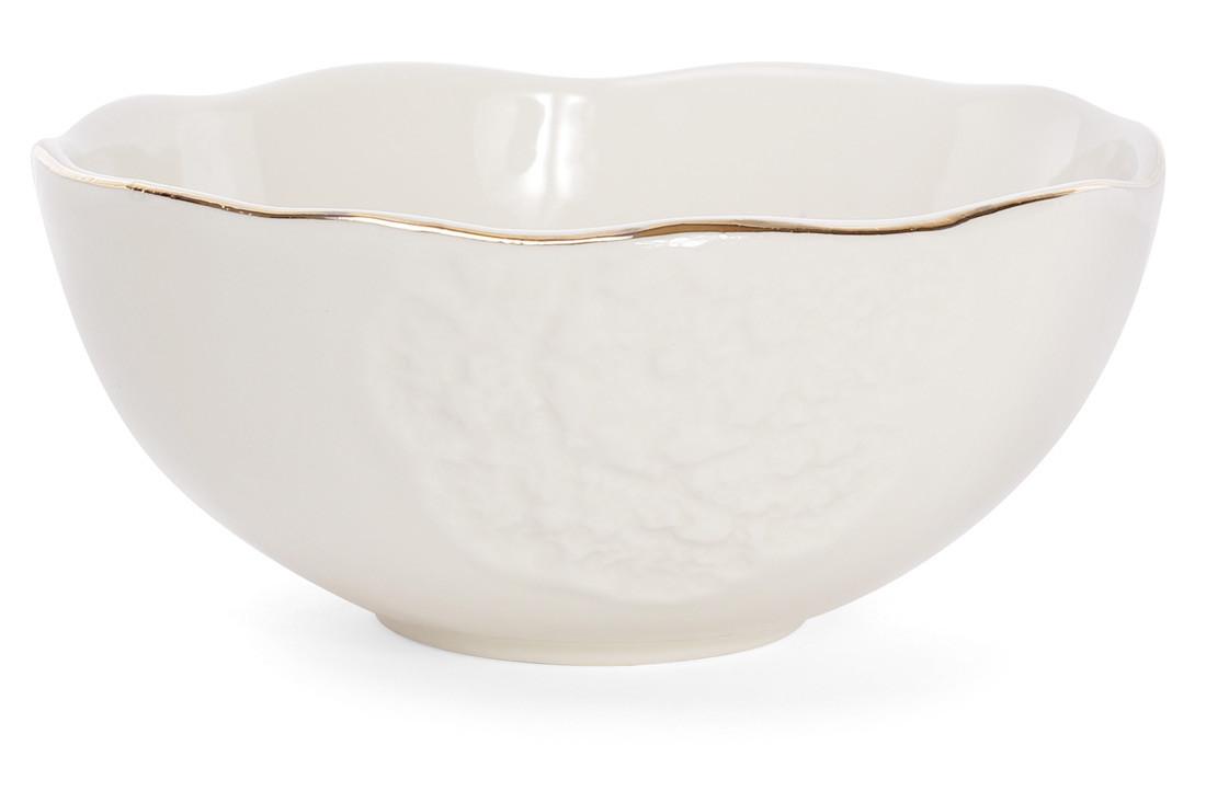 Пиала фарфоровая 550мл с объемным рисунком цвет - кремовый с золотом 4 шт. (945-200)