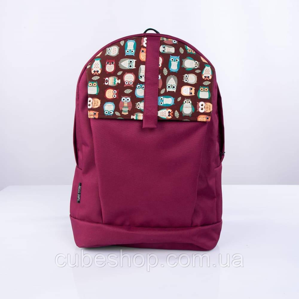 Бордовый рюкзак с совами