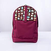 Бордовый рюкзак с совами, фото 1