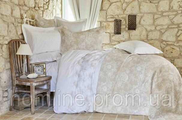 Набор постельное белье с покрывалом + плед Karaca Home Storybej бежевый евро размера