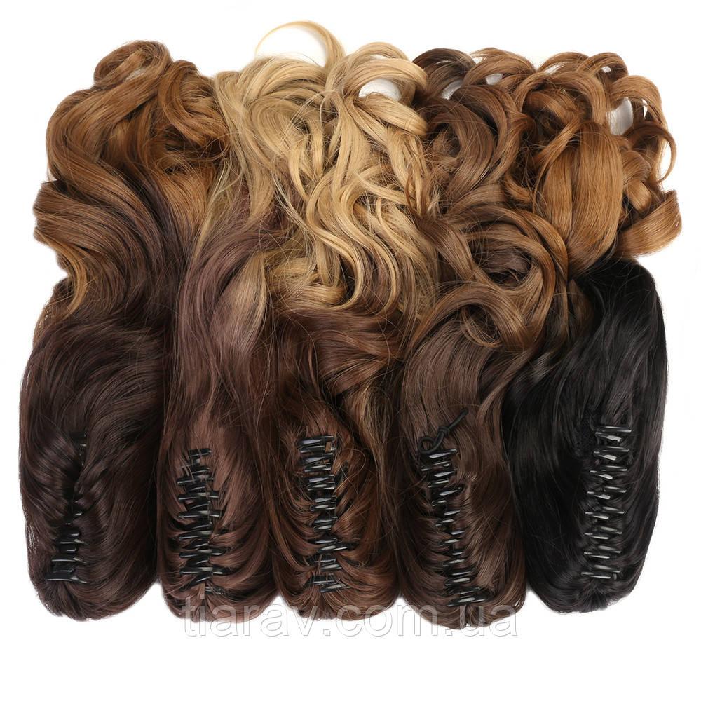 Хвост на крабе омбре волнистый густой шиньон, Волосся штучне, накладне волосся