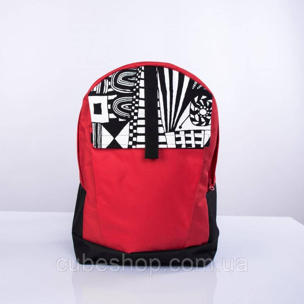 Черно-красный рюкзак с орнаментом