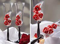Свадебные бокалы красные маки Б-440, фото 1