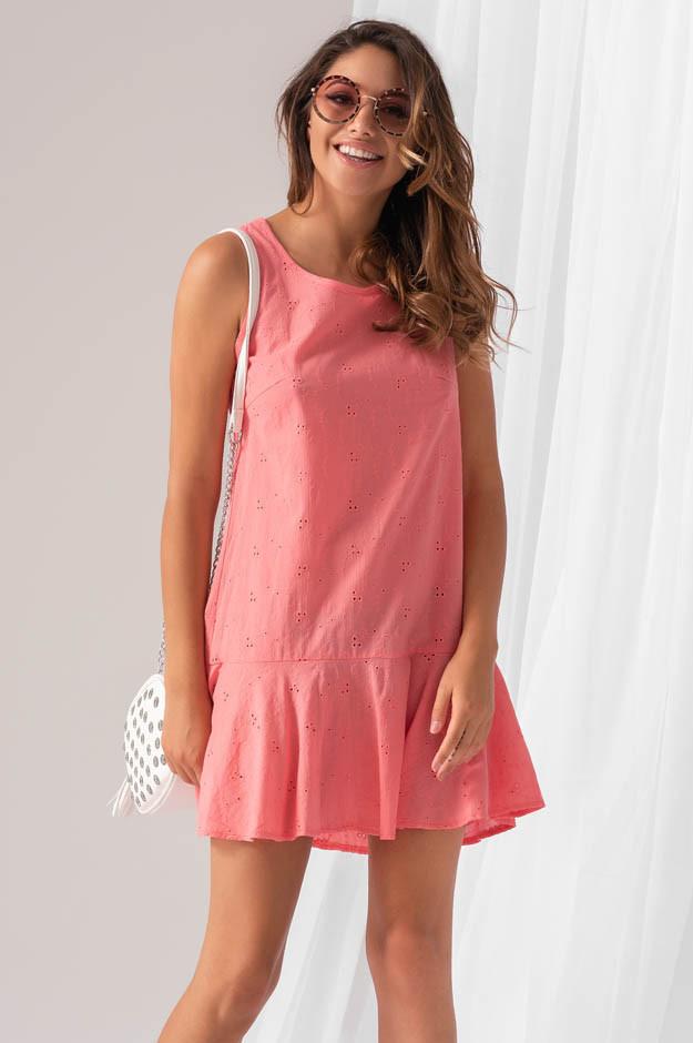 Летнее коттоновое платье кораллового цвета. модель 18929. Размеры 42-46