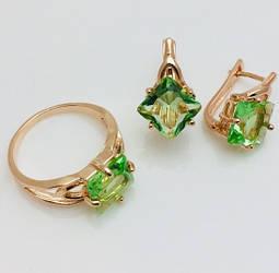 Набор с салатовым камнем серьги+ кольцо размер кольца 17, 18, 19, 20