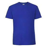 Футболка мужская летняя ярко-синего цвета из 100% хлопка