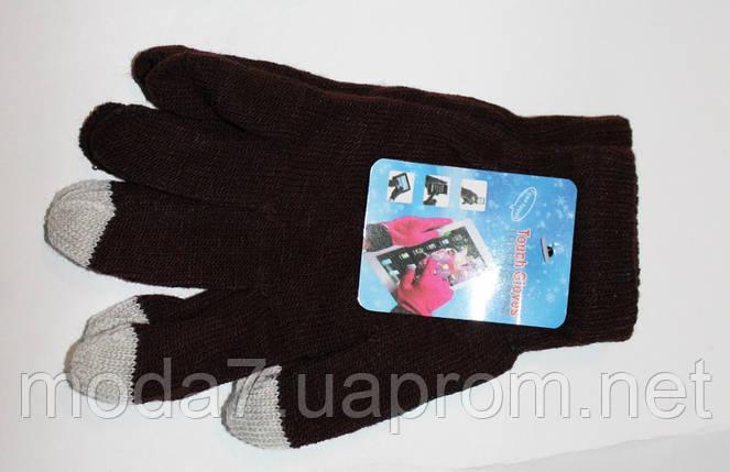 Подростковые перчатки для сенсора корочневые, фото 2