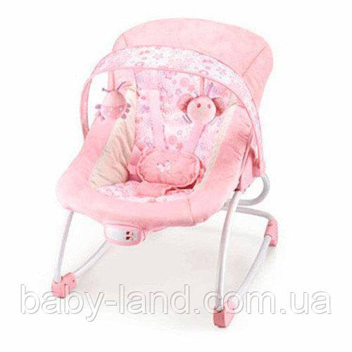 Шезлонг качалка детский с электроприводом музыкальный Bambi 6905 розовый