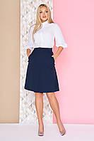 """Женская офисная однотонная пышная юбка миди трапеция со складками """"S-13"""" синяя"""