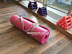 Каучуковый коврик для фитнеса NBR 180х60см, толщина 12мм, розовый, фото 2