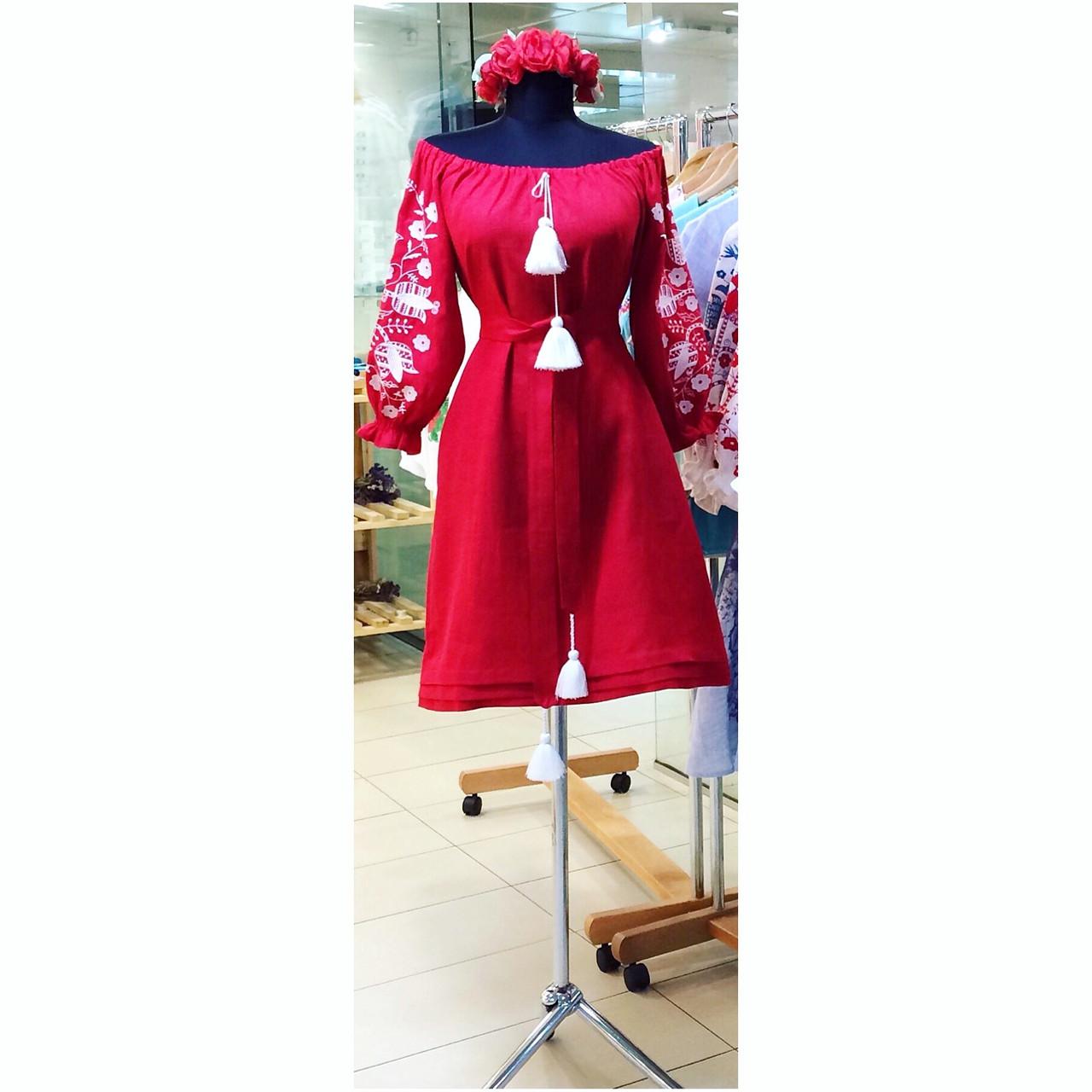 3d34e73ddd7d86 Вишита сукня червоний льон спущені плечі вишивка дерево біле ...