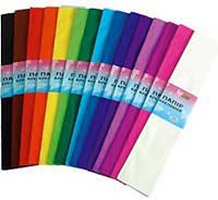Бумага креповая 55% цветная (оранжевая, салатовая, фиолетовая)