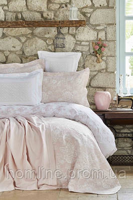 Набор постельное белье с покрывалом + плед Karaca Home Story pudra пудра евро размера
