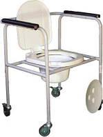 Стул туалетный стальной регулируемый на колесах НТ-04-008