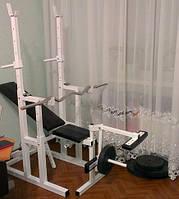 Скамья для жима + Стойки для приседний + Штанга 115 кг + EZ-гриф + Гантели