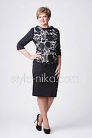 Костюм Голда, стильный деловой костюм, черный  ткань костюмка и макраме.